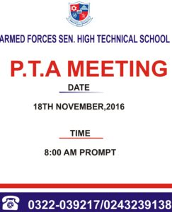 P T A Meeting Armed Forces Senior High Technical School