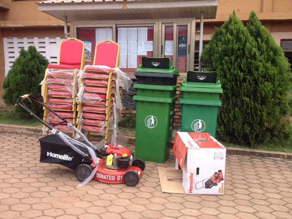 EXECUTIVE CHAIRS,MOWER AND DUSTBINS WERE GIVEN AS DONATION